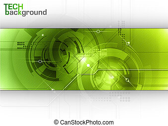 tech background with green center