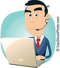 Illustration of a cartoon surprised man IT support