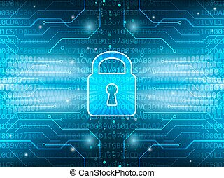 Technological board and lock on global security service abstract dark blue vector background.