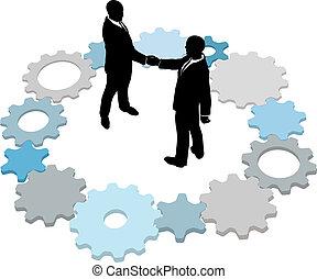 Technology business people deal gears