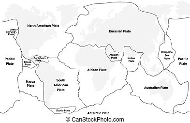 Tectonic plates with names - world map with fault lines of major an minor plates.