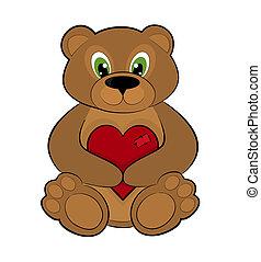 Teddy bear holding a red heart
