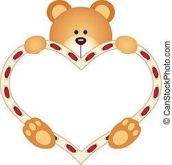 Teddy Bear holding Blank Heart