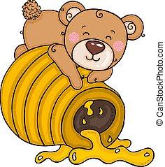 Teddy bear lying on honey pot
