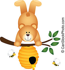Scalable vectorial image representing a teddy bear upside down in beehive, isolated on white.