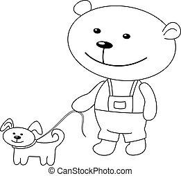 Teddy-bear walks with a dog, contours