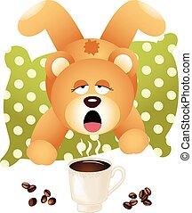 Teddy bear wants coffee
