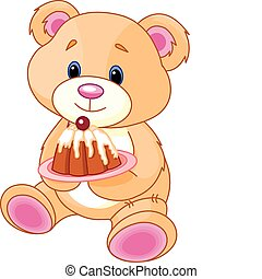 Cute Teddy Bear with birthday cake. Vector Illustration