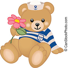 Scalable vectorial image representing teddy sailor offers flower, isolated on white.