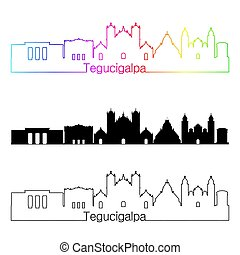 Tegucigalpa skyline linear style with rainbow