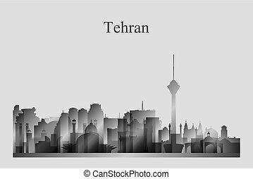 Tehran city skyline silhouette in grayscale