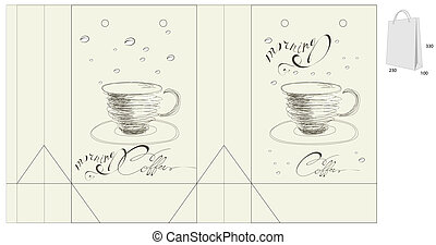 Template for bag with a cup of coffee