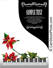 Template greeting card with white piano and flower