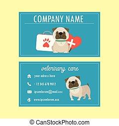 Template Veterinary business card, cute cartoon french bulldog