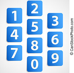Ten blue 3d banners with numbers. Vector illustration