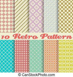 Ten retro different vector seamless patterns (tiling). Endless texture can be used for wallpaper, pattern fills, web page background, surface textures. Set of monochrome geometric ornaments.