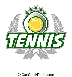 Tennis Badge Logo Template with ball and laurel wreath.