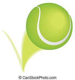 Tennis ball taking a bounce and leaving a blurred path.