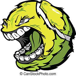 Tennis Ball Screaming Face Cartoon Vector Image
