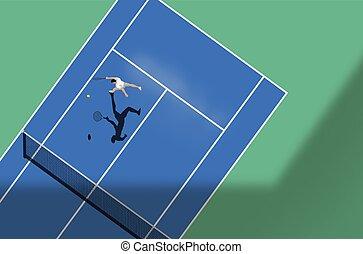 Tennis match on a hard court. Top down view of the sport, vector illustration.