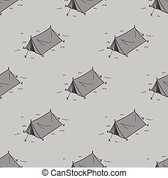 Tent Seamless Pattern Camping Picnic Vector repeat wallpaper isolated tile background