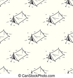 Tent Seamless Pattern Camping Picnic Vector wallpaper isolated background