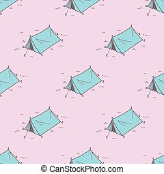 Tent Seamless Pattern Camping Picnic Vector wallpaper isolated tile background