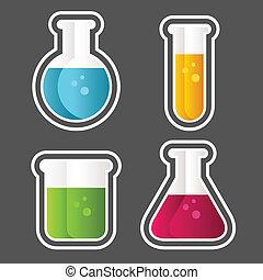 Set of test tube and beaker icons.