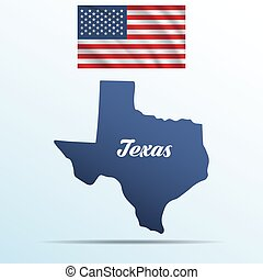 Texas state with shadow with USA waving flag