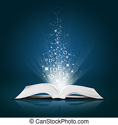 text idea on open white book on blue background