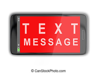 3D illustration of TEXT MESSAGE title on cellular screen, isolated on white.