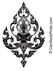 Thai arts angel, vector pattern in eps10