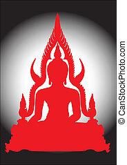 Thai Buddha in red silhouette.