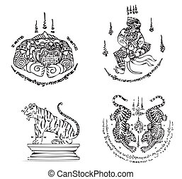 Set of Thai Tattoo Ancient. Vector template