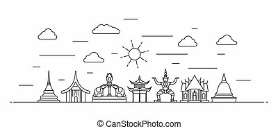 Thailand panorama. Thailand vector illustration in outline style with buildings and city architecture. Welcome to Thailand.