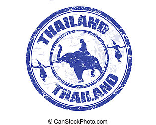 Grunge rubber stamp with silhouette of elphant and traditional Thai dancerand and the name of Thailand written inside the stamp
