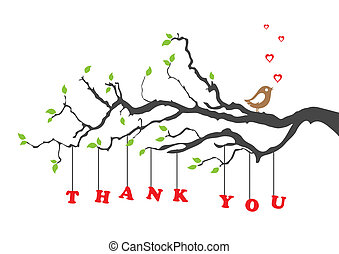 Thank you greeting card with bird