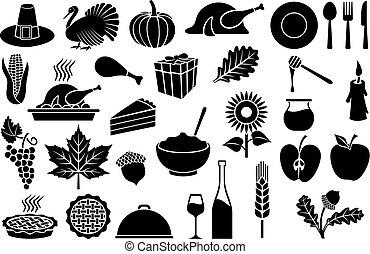 Thanksgiving Day icons set