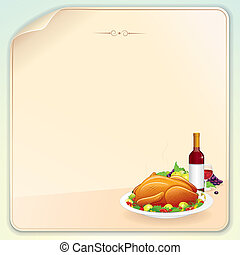 Thanksgiving Greeting Card with Roasted Turkey, Fruits and Wine. Vector Image