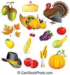 illustration of set of thanksgiving elements on white background