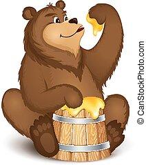 The bear eats honey