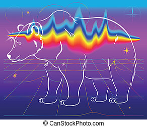 the bear, northern lights,