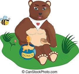 The bear with honey