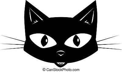 Face of a black cat for a sticker or a mask