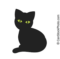 The black cat with green eyes