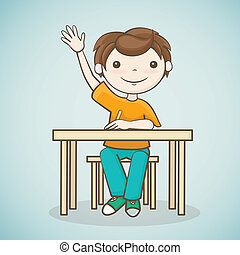 the boy answers the question, a student raised his hand, sitting at the table