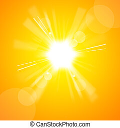 The bright yellow sun in the yellow sky