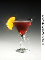 The cocktail Americano w cherry and orange slice