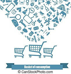 the flat consumer basket in vector format