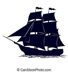 Old sailing ship. Illustration on white background.